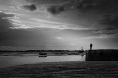 Bell wharf (Scott Baldock) Tags: leigh sea essex bw mono figure mood atmosphere silhouette canon fishing village