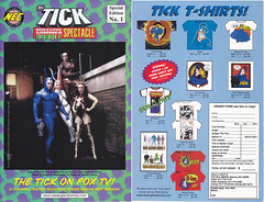 THE TICK ON FOX TV MASSIVE SUMMER DOUBLE SPECTACLE NUMBER 1 (vsndesigns) Tags: the tick pencil indie shocker gbjr toys with tie and tshirt zombie in a steel box fox promotional totally kids magazine 45 club spoon taco bell meal commercial eli stone ben edlund little wooden boy comic book merchandise rare limited edition 80s 90s collector museum naked super hero heroine funny comedy tv color thetick indoor surreal cartoon coffee mug ceramic cup black blue text poster illustration collection sketch cover white necpress
