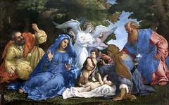 IMG_8217KGA Lorenzo Lotto. 1480-1557. Les Marches. Sainte Famille avec trois anges, le petit St Jean, Sainte Elisabeth et St Zacharie. Holy Family with three angels, Little St. John, St. Elizabeth and St. Zachariah. 1537. Louvre.
