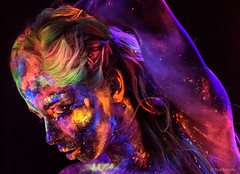 """""""Avatar Girl"""" dreaming (hunblende) Tags: uvlight portrait face hunblende humanface human colorful colorfulhair woman womanface"""