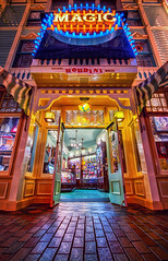 Magic Shop (Matt Valeriote) Tags: hdr disneyland disney californiaadventure mainstreetusa mainstreetmagic houdini night lights glow magic souvenirs
