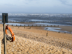Kentish beach (Mary Gerard) Tags: beach sea groynes lifebuoy