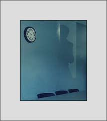 Three chairs, a clock, and me (Bob R.L. Evans) Tags: clock shadow chairs blue surreal abstract unusual time ipadphotography