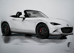2016 Mazda MX-5 Miata Convertible - Rendering ( S. D. 2010 Photography) Tags: car vehicle convertable mazda miata mx5 2016 art drawing painting mixedmedia rendering handdrawn pencil color graphite ink pen white