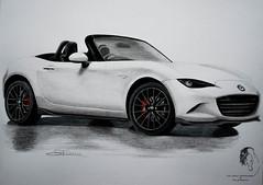 2016 Mazda MX-5 Miata Convertible - Rendering (© S. D. 2010 Photography) Tags: car vehicle convertable mazda miata mx5 2016 art drawing painting mixedmedia rendering handdrawn pencil color graphite ink pen white