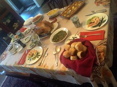 Thanksgiving 2016 (ABMoss) Tags: thanksgiving table turkey dressing sweet potatoes rolls green beans shrimp cocktail broccoli rice casserole dogwood plates gravy