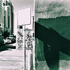 Gotta know how 2 read the signs (Dom Guillochon) Tags: urban people humans city downtown wall sunlight signs time life buildings existence reality dream street corner graffiti expressions