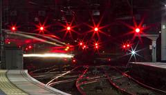 Sea of Red (Rossco156433) Tags: scotland glasgow glasgowcentral train electric motor class314 emu scotrail abellio nederlandsespoorwegen brel britishrail ac traction longexposure lighttrails railway station signals red