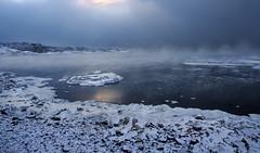Light before snowfall (tinamar789) Tags: sea seashore seascape mist morning fog foggy snow winter cold clouds light island icy ice water suomenlinna helsinki finland