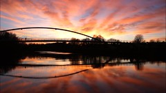 York Sunset (matrobinsonphoto) Tags: york north yorkshire sunset sunlight sun light golden hour dusk beautiful sky drama dramatic afterglow millennium bridge time lapse timelapse river ouse city reflection