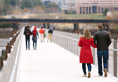 December Day on the  T. Tyler Potterfield Memorial Bridge (BlueGoo Studios) Tags: rva richmond bridge winter couples red