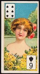 Cigarette Card - 6 of Spades (cigcardpix) Tags: cigarettecards advertising ephemera vintage beauty playingcard