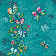 Hand-drawn seamless pattern in blue (PicciaNeri) Tags: spring handdrawn endless blossom drawing background summer tile turquoise pink doodle seamless pattern tileable repetition flower vector petal garden summertime blue repeat nature sketch butterfly floral leaf decoration wallpaper green bloom yellow botany decor
