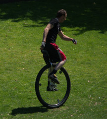 Big Wheel (swong95765) Tags: unicycle man guy ride pedal balance grass riding unique wheel