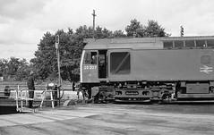 Loco 25207  St Blazey  1980 (keithwilde152) Tags: china blackandwhite monochrome work cornwall br diesel outdoor clay 1980 railways locomotives railwaymen stblazey class25