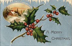 Antique Christmas Postcard - Blue Background (Brynn Thorssen) Tags: santa christmas xmas red holiday snow green vintage gold antique holly postcards yule fatherchristmas santaclaus merrychristmas santaklaus happynewyear happychristmas yuletide oldsaintnick