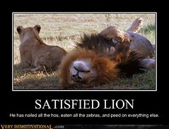 SATISFIED LION (Chikkenburger) Tags: posters memes demotivational cheezburger workharder memebase verydemotivational notsmarter chikkenburger