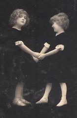 Two Girls (pepandtim) Tags: old girls two st cat early play market postcard lawn cream salmon nostalgia nostalgic rph angelina abbott newton kilda taunton margery 88twg66