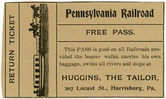 Free Pennsylvania Railroad Pass, Huggins the Tailor, Harrisburg, Pa., 1906 (Alan Mays) Tags: ephemera newspaperclippings newspapers clippings advertising advertisements ads railroadpasses freepasses free passes tickets admissiontickets admissions railroadiana paper printed pennsylvaniarailroad railroads railways trains canalboats boats canals horses animals travel transport transportation parodies humor humorous funny borders illustrations huggins edgarjhuggins hugginsthetailor tailors locuststreet harrisburg pa dauphincounty pennsylvania 1906 1900s antique old vintage typefaces type typography fonts