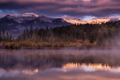 Mist-ifying Sunrise at Lake Vermilliom (chasingthelight10) Tags: travel mist canada photography landscapes events places things banffnationalpark canadianrockies vermilionlake