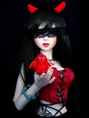_ HAPPY HALLOWEEN! _Devil's wife (Misstica Dolls) Tags: red halloween girl tattoo kid outfit dolls handmade devil theme bjd arina tatouage déguisement balljointeddoll soulkid souldoll handmadeoutfit nlbody souldollsoulkidarina