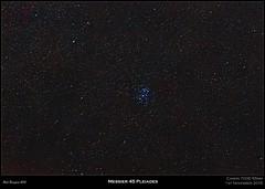 Messier 45 Pleiades [Explored] (Myrialejean) Tags: california sky night stars nebula astrophotography m45 atlas maia astronomy messier taurus sevensisters electra perseus alcyone pleiades pleione ngc1499 botein celaeno ngc1435 asterope merope atik messier45 taygeta sterope menkib astrometrydotnet:status=solved astrometrydotnet:id=nova1309025
