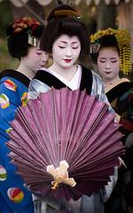 (byzanceblue) Tags: old pink red white color classic rain japan umbrella hair rouge kyoto purple traditional style lips maiko geiko geisha   gion trio trad   satsuki hanamachi          kagai