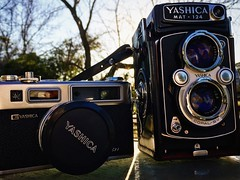 Yashica brothers. #film (guido1515) Tags: camera 120 film 35mm vintage outdoor rangefinder oldschool medium format 1970s yashica iphone6s