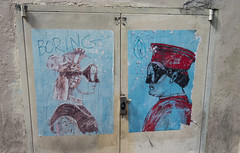 Boring (UrbanphotoZ) Tags: blue red italy woman streetart man tattoo florence doors wheatpaste duke bubbles pearls boring urbanart cap worn torn firenze urbino vest dutchess headdress facing blub creased costumed swimgoggles pierodellafrancesca swimmask