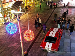 Red Christmas (alessiochiolo) Tags: christmas light red people italy horse white hot cars ford lines car sport night vintage shopping torino happy lights design fan high hp view expo muscle performance balls pic center icon american shelby mustang gt natale musclecar horsepower sportcar carporn smarthphone