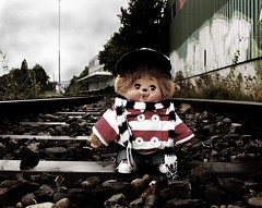 Jareth on the rails (Monkey Culture) Tags: monchhichi toho daisuke toy stuffedtoy toyart toyphotography