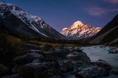 Glowing Valley (Gift of Light) Tags: mount mountain cook mountcook newzealand travel traveldestination touristattraction nationalpark valley hookervalley evening sunset alpenglow alpine glow light sunlight shadow twilight nature landscape outdoor explore rock river flow water snow summer peak sonyalpha sony sonya7rii a7rii sonyvariotessartfe1635mmf4zaoss variotessar t fe za oss 1635mm f40 16354 41635