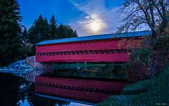 Hunters Moon (b88harris) Tags: hunters moon covered bridge full red creek water long exposure moonlight fall october reflection nikon d7200 sigma 1750mm lens