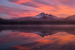 Morning energy (gmacfly) Tags: sunrise burn sky oregon little stopper nd filter red nature sparks lake reflection fog mist cold morning adventure wow