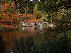 boathouse remains (mark.griffin52) Tags: olympusem5 england bedfordshire stockgrovecountrypark colour autumn reflections ruin boathouse building trees lake