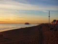 Brighton Beach (Darren-Holes) Tags: brighton beach sunset brightonpier palacepier i360 dusk autumn colour englishchannel pier water shingle people