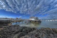 Castro Urdiales (PrimiFer) Tags: castro urdiales club nautico mar cantabria gran angular nikon d80 peleng iglesia santa maria church nubes azul
