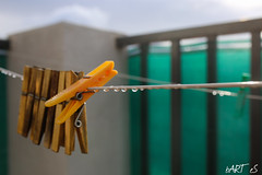 Untitled (bartslaby) Tags: autumn rain drops wet balcony clothespins soaking laundry clips