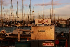 Gasoline (Art By Pem Photography: Tao Of The Wandering Eye) Tags: canon fineartphotography canoneosrebelsl1 eos sl1 california socal sandiego harbor gasoline fuel boats sailboats water marina usa travel sign signs regularunleaded rust rustic