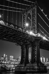Manhattan Through Manhattan (mhoffman1) Tags: oony2016 brooklyn eastriver freedomtower manhattan manhattanbridge nyc sonyalpha a7r blackandwhite bridge city evening monochrome night suspensionbridge