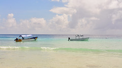 Mnemba Beach (sagimihaly) Tags: africa tanzania zanzibar summer vacation mnemba indianocean ocean sand whitesand endlessblue beach blue boat sailboat dhow