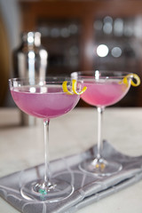 Cocktail Time! (Chicago_Tim) Tags: food photography foodphotography stilllife lifestyle cocktail pink coupe stemware closeup purple bokeh shallowdepthoffield