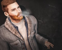 Winter is already here .... (brian.werefox) Tags: findyours event clef de peau taketomi k signature swallow modulus doux winter ikon guy homme male sexy beard red hair smoke fashion secondlife avatar look style mode sl 3d freckles hunk fur coat piercing