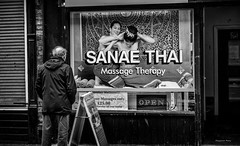 """""""I wonder if this will help my Arthritis"""" (Pensioner Percy) Tags: d7200 street manchester thai 1801400mm massage girls arthritis therapy sanaethai"""
