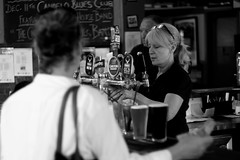 Happy hour (rvrossel) Tags: happyhour flickrfriday noiretblanc beer pub people fujixt10
