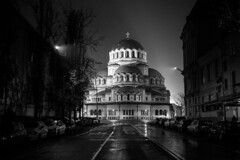 Wet Streets (Yoan Mitov) Tags: sofia bulgaria night rainy rain street fuji fujifilm xt10 27mmf28 27mm cathedral orthodox church blackandwhite road wet empty