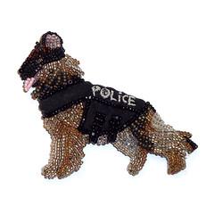 POLICE DOG Beaded German Shepherd Pin Pendant (The Lone Beader) Tags: military army navy beadwork beadembroidery beading beadedanimal belgianmalinois policemen cop gift officer etsy amazon handmade k9 caninehandler