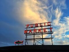 Seattle sunset - iPhone (Jim Nix / Nomadic Pursuits) Tags: seattle travel sunset sign neon pikeplacemarket washingtonstate iphone snapseed