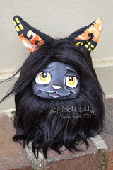 Halloween Kitty Fluff (Scribble Dolls) Tags: black cute art halloween cat toy stuffed sweet handmade ooak critter small plush softie tiny stuffedanimal handpainted plushie handsewn artdoll cloth pocket creature sewn scribbledolls