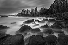 The Pinnacles mono (Mark McLeod 80) Tags: longexposure blackandwhite water mono rocks victoria le vic phillipisland capewoolamai thepinnacles markmcleod leebigstopper markmcleodphotography